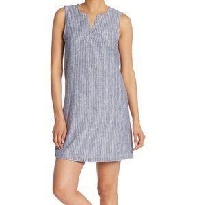 Beach Lunch Lounge Blue White Stripe Plus Dress